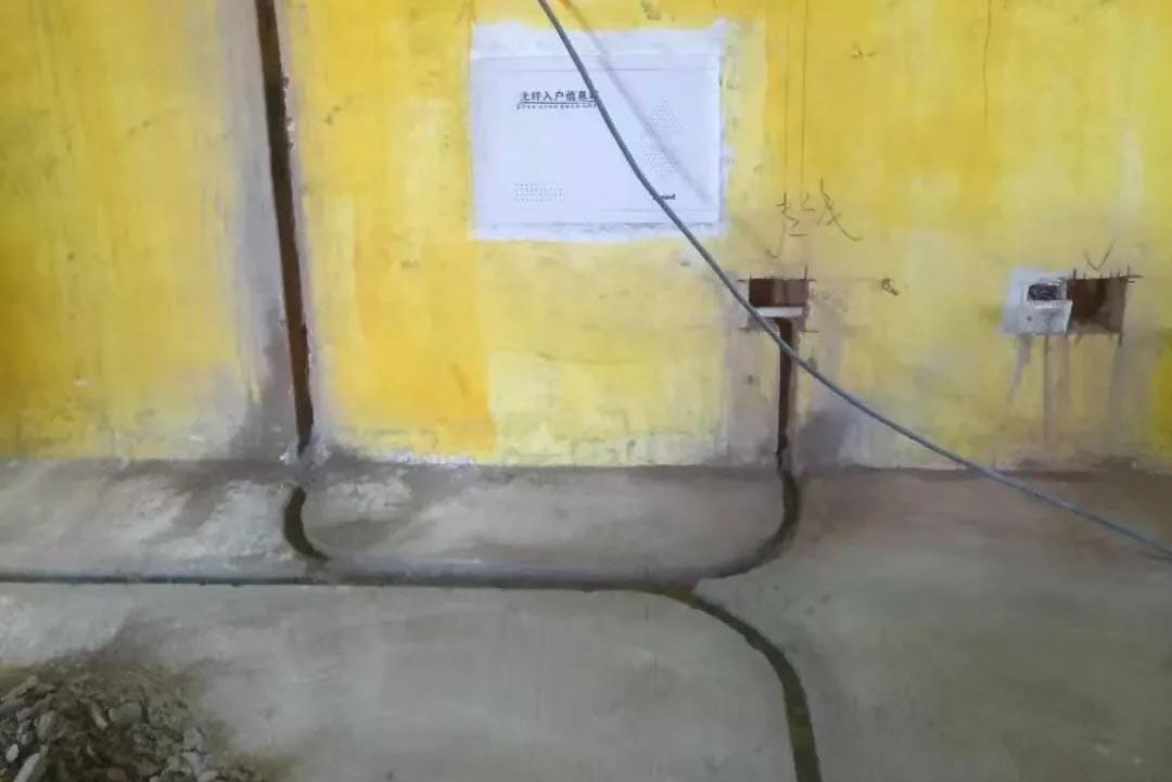 成都装修工地香悦云庭,水电开槽施工现场