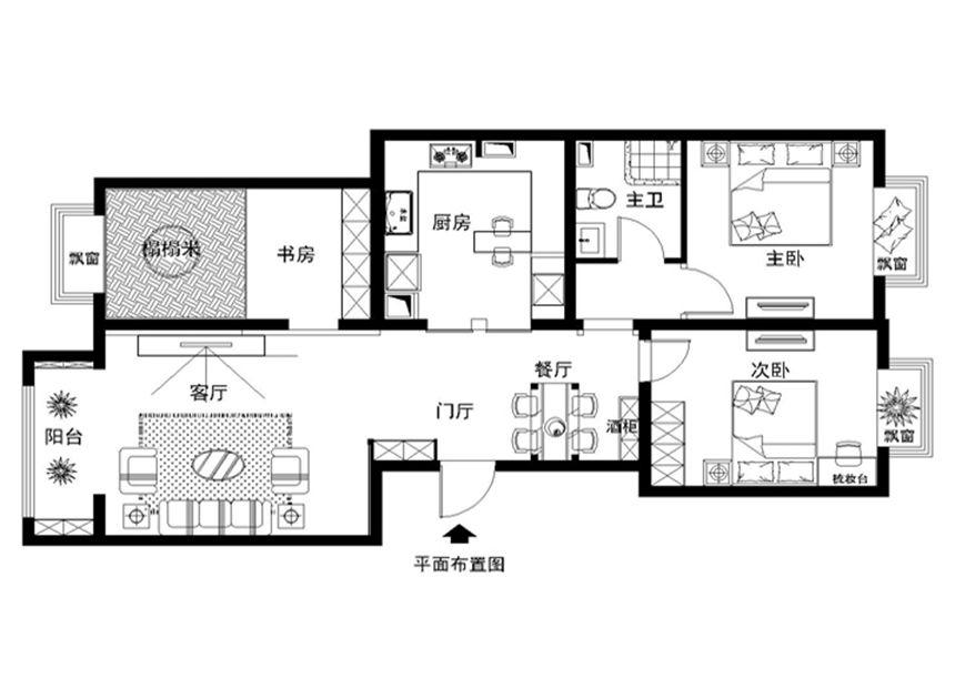 灰色家居搭配120平米现代风格