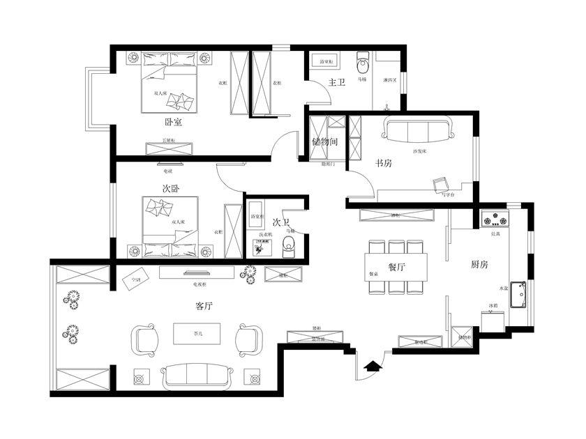 简约欧式风格140平米三居